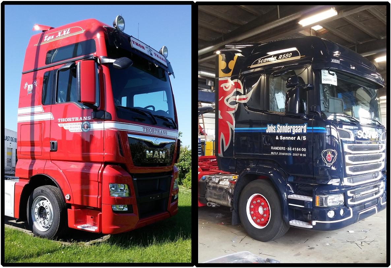 Reklamer til lastbiler | Folie på Lastvogne | Lastbilsdekoration | Lastvognsdekoration | Lastbiler pakket ind i folie | Skilte Design Randers